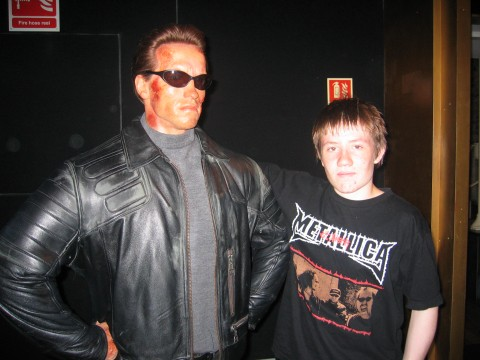 Arnold Schwarsenegger as the Terminator with an assistant
