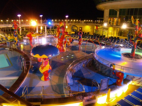 Freedom of the Seas children's pool at night